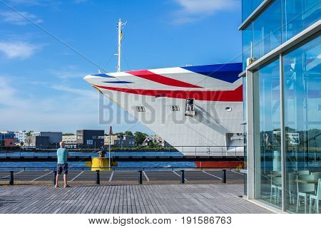 Amsterdam the Netherlands - May 31 2017: bow of P&O Aurora cruise ship in Amsterdam