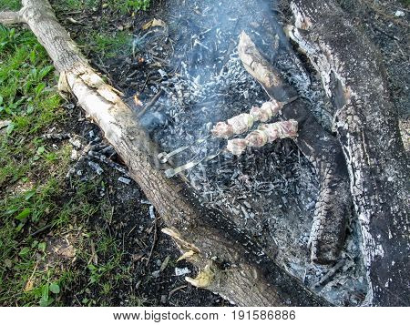 Two skewers with juicy meat and vegetables are fried over the ashes from the bonfire. Two metal skewers with meat lie between two wooden logs in the smoke