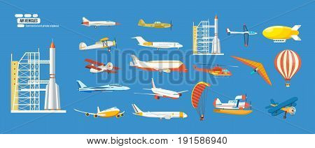 Big set of air vehicles: missile with base, hang-glider, helicopter, airship, balloon, paraglider, biplane, land glider, amphibian aircraft. Modern vector illustration isolated on blue background.