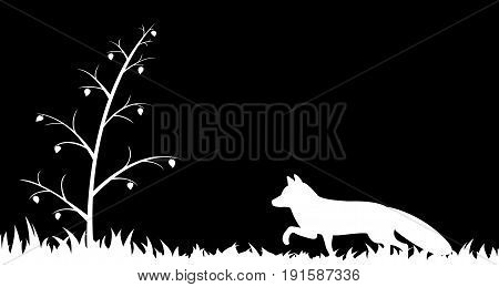 Vector illustration the silhouette of fox in the grass.