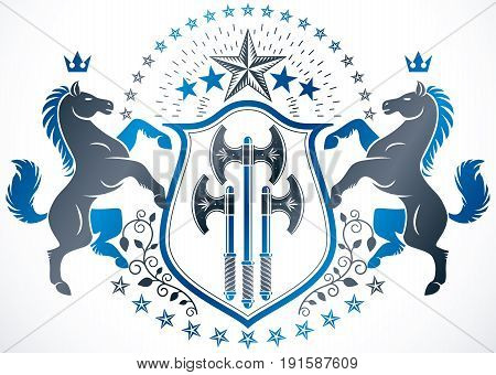 Classy emblem vector heraldic Coat of Arms created using graceful horse illustration imperial crown and hatchets heraldic vector.