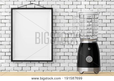 Modern Electric Blender in front of Brick Wall with Blank Frame extreme closeup. 3d Rendering.