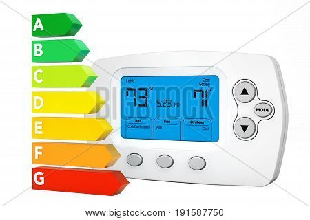 Modern Programming Thermostat near Energy Efficiency Rating Chart on a white background. 3d Rendering.