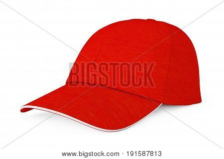 Red Fashion Baseball Cap on a white background. 3d Rendering.