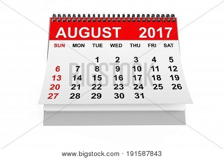 2017 year calendar. August calendar on a white background. 3d rendering