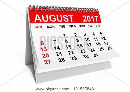 2017 year calendar. August calendar on a white background. 3d rendering