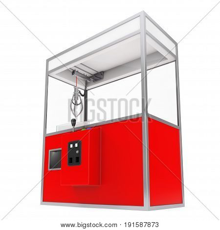 Empty Carnival Red Toy Claw Crane Arcade Machine on a white background. 3d Rendering.