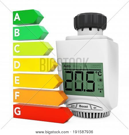 Digital Wireless Radiator Thermostatic Valve near Energy Efficiency Rating Chart on a white background. 3d Rendering.