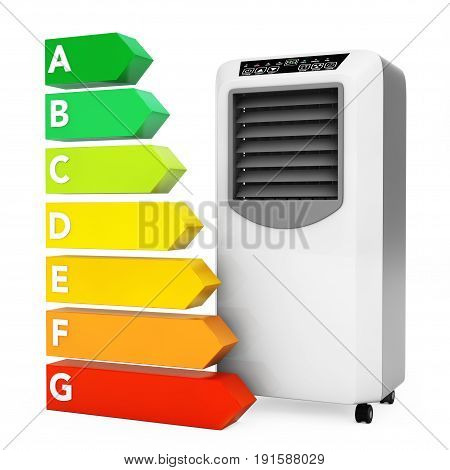 Modern Mobile Conditioner near Energy Efficiency Rating Chart on a white background. 3d Rendering.