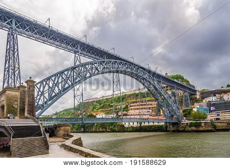 View at the bridge of Luis I. in Porto - Portugal