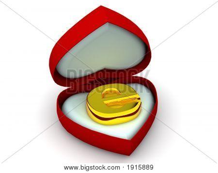 Caixa de coração com um símbolo para a Internet. 3D