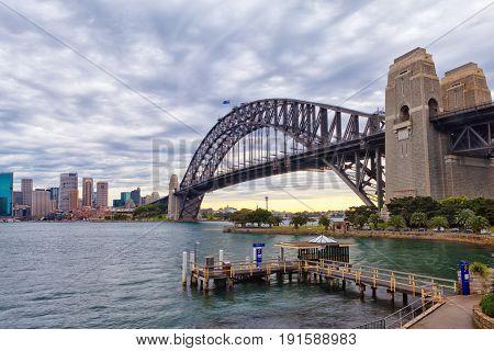 Sydney Harbour Bridge on a cloudy day