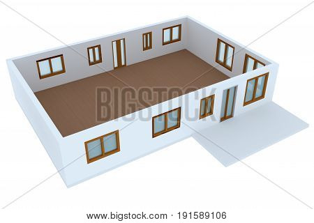 Cross-section of a residential house. 3D image.