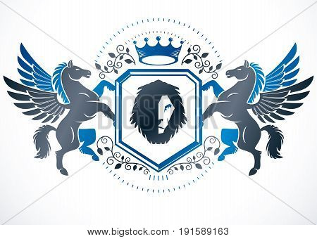Classy emblem vector heraldic Coat of Arms composed using graceful Pegasus wild lion illustration and imperial crown