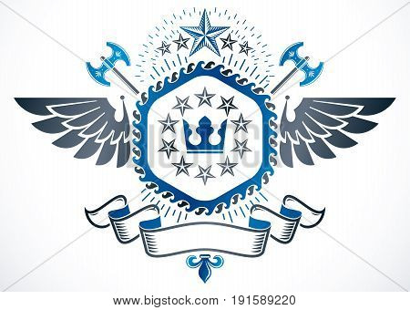 Old style heraldry winged heraldic emblem vector illustration created using royal crown stars and ancient hatchets