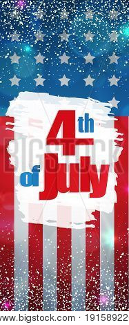 Happy 4th of July, Independence Day greeting card vertical banner. Happy July Fourth. Vector