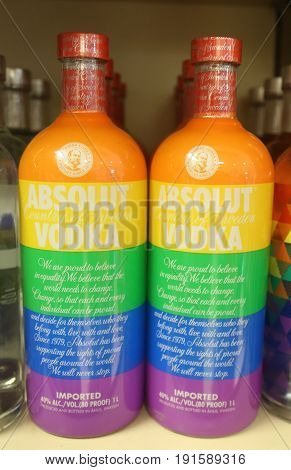 TRUE BLUE, GRENADA - JUNE 13, 2017: Absolut Vodka True Colors Equality Bottle on display at Maurice Bishop International Airport Duty Free Shop in Grenada
