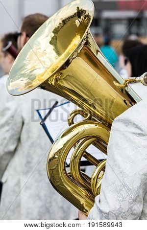 Musician From Orchestra Holding Bass Tuba During The Performance