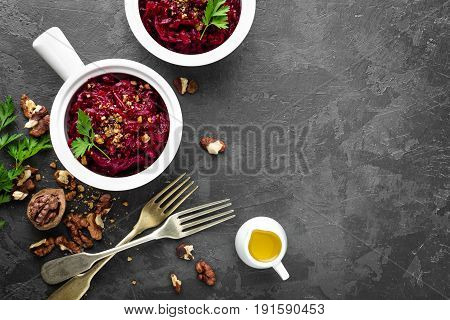 Beetroot salad, beetroot salads with nuts closeup