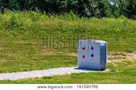 large white archery target on the range