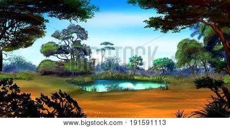 Idyllic View of the Small Pond on a Forest Glade Surrounded by Trees in a Sunny Summer day. Digital Painting Background Illustration in cartoon style character.