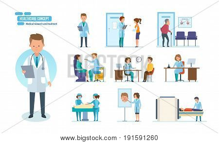 Healthcare system concept. Medical research and treatment. Reception by doctors, patient visits, therapist doctor, radiologist, surgeon, dentist, oculist, hospital staff. People cartoon style.
