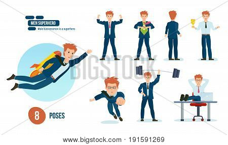 Set of businessman is a superhero, in beautiful business clothes in various poses, situations and circumstances. Young men character, superhero, in full growth. Illustration, people in cartoon style.