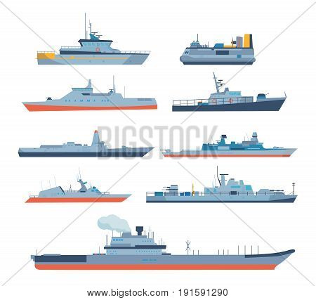 Set of ships in modern flat style: ships, boats, ferries, with blue sea background. Ocean transport concept. Shipping boats. Vector illustration isolated on white background.