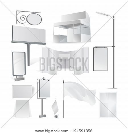 Advertisement billboards and outdoor advertisement: billboard and blank poster, empty sign of retail, trading board background template, exhibition hanging fabric surface stand, commercial theme.