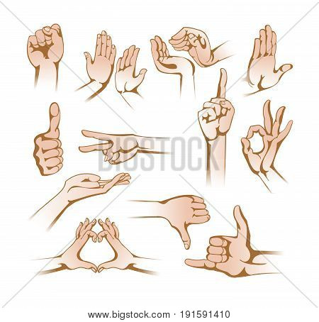 Set of hands in different gestures emotions and signs: protest, give five, caring, stop, okay, scissors, love, kind, heart, finger down, class, gesture call me. Illustration on white background.