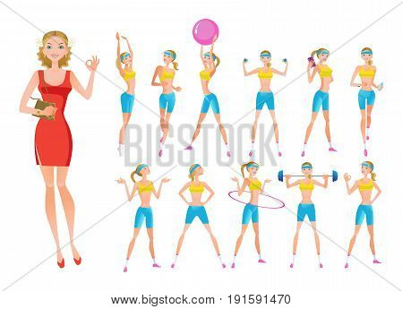 Beautiful fitness girl character in different positions, emotions, poses and with different objects. Active summer fitness girl training. Vector illustration, people in cartoon style.