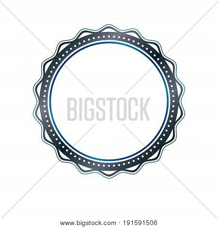 Luxury round frame with empty copy-space classic heraldic blank circular shape created with undulate stripes and curves. Retro style label decorative seal.