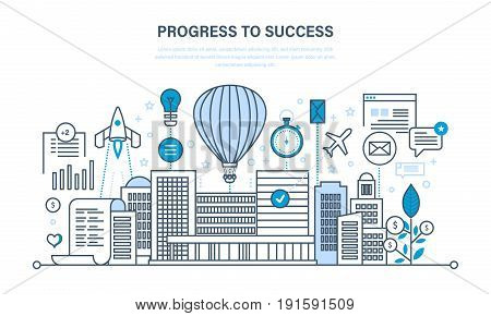 Progress to success. Management, control and time management, workflow, ideas, concepts. Illustration thin line design of vector doodles, infographics elements.