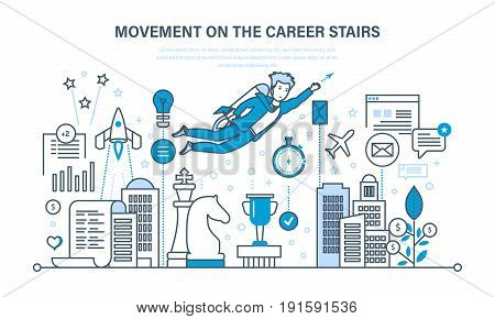 Movement on the career stairs. Success in work, improvement of personal, professional qualities, career growth of businessman. Illustration thin line design of vector doodles, infographics elements.