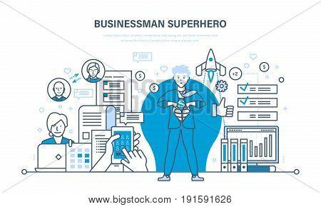 Businessman is a superhero, project management, success in work, time management, planning. Full portrait young men superhero. Illustration thin line design of vector doodles, infographics elements.