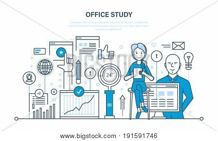 Office study, search research, analysis of information, marketing and communications, studying of data, statistics, analytics. Illustration thin line design of vector doodles, infographics elements.