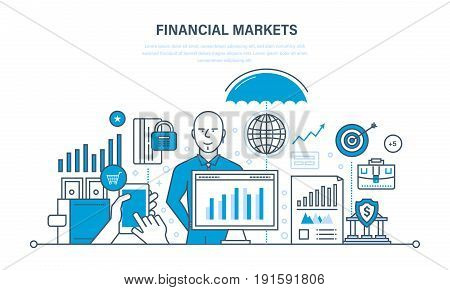Financial markets: stock, money, capital market, foreign exchange forex. Business, banking, protection of deposits, income, savings investments Illustration thin line design of vector doodles