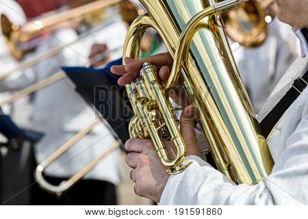 Hands Of A Male Musician Holding Big Tuba
