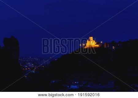 Night view on Tabor Monastery of the Transfiguration. Tbilisi Georgia country.