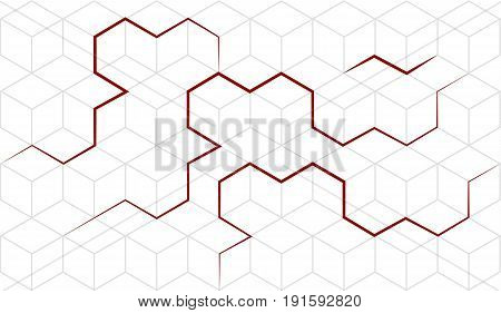 Vector abstract cubes isometric background with red lines. Geometric abstraction. Pseudo 3D cube cell. White background. Editable eps10 Vector.