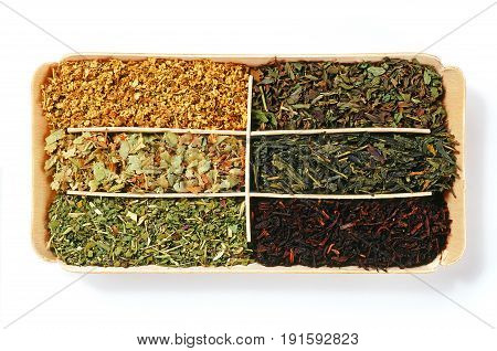 various teas in box isolated over white background poster