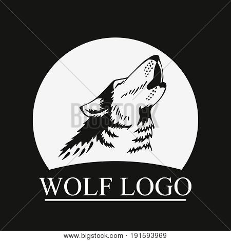 Silhouette Head Howling wolf on moon background. Perfect for logo or icon, also for print. Vector illustration.