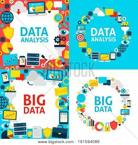 Data Analysis Templates. Vector Illustration Flat Style Business Concept.
