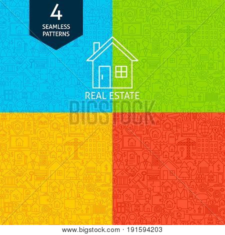 Line Real Estate Patterns. Four Vector Website Design Seamless Backgrounds. House and Building.