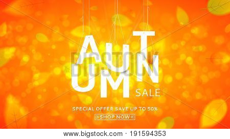 Web banner for autumn sale. Vector illustration with papper white letters. Seasonal offer with discounts. Bright orange background with the falling leaves.