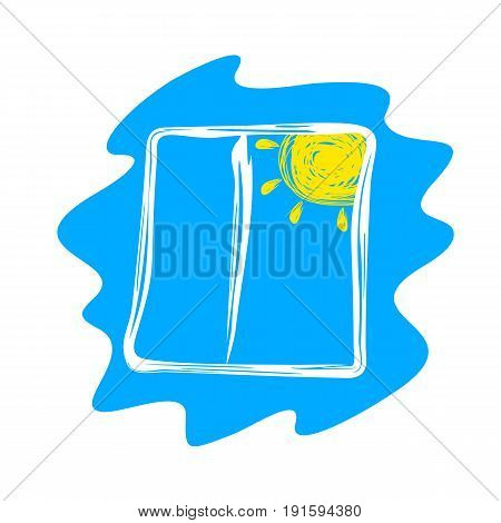 Abstract Window and Sun Drawn on a Blue Background.