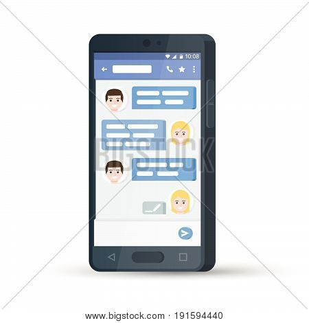 Black 3d mobile phone. Social network concept. Flat stylish smartphone. Messenger window. Chating and messaging concept. Blue chat boxes. Message exchange. Vector illustration.