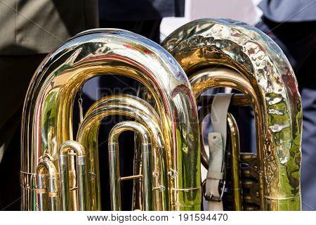 Fragment Of Big Brass Tuba. Part Of Music Instrument.