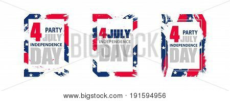 Modern colorful frame for independence day USA 4th july. Dynamic design elements for a flyer sale brochures presentations party etc. Vector illustration.