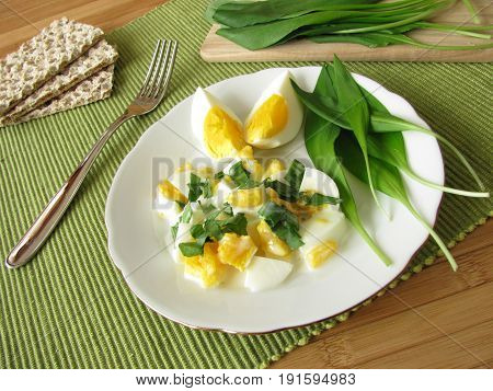 Egg salad with ramsons and fresh ramsons leaves
